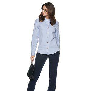 ✨2/$20✨Light Blue Oxford Button Up Shirt +Necklace
